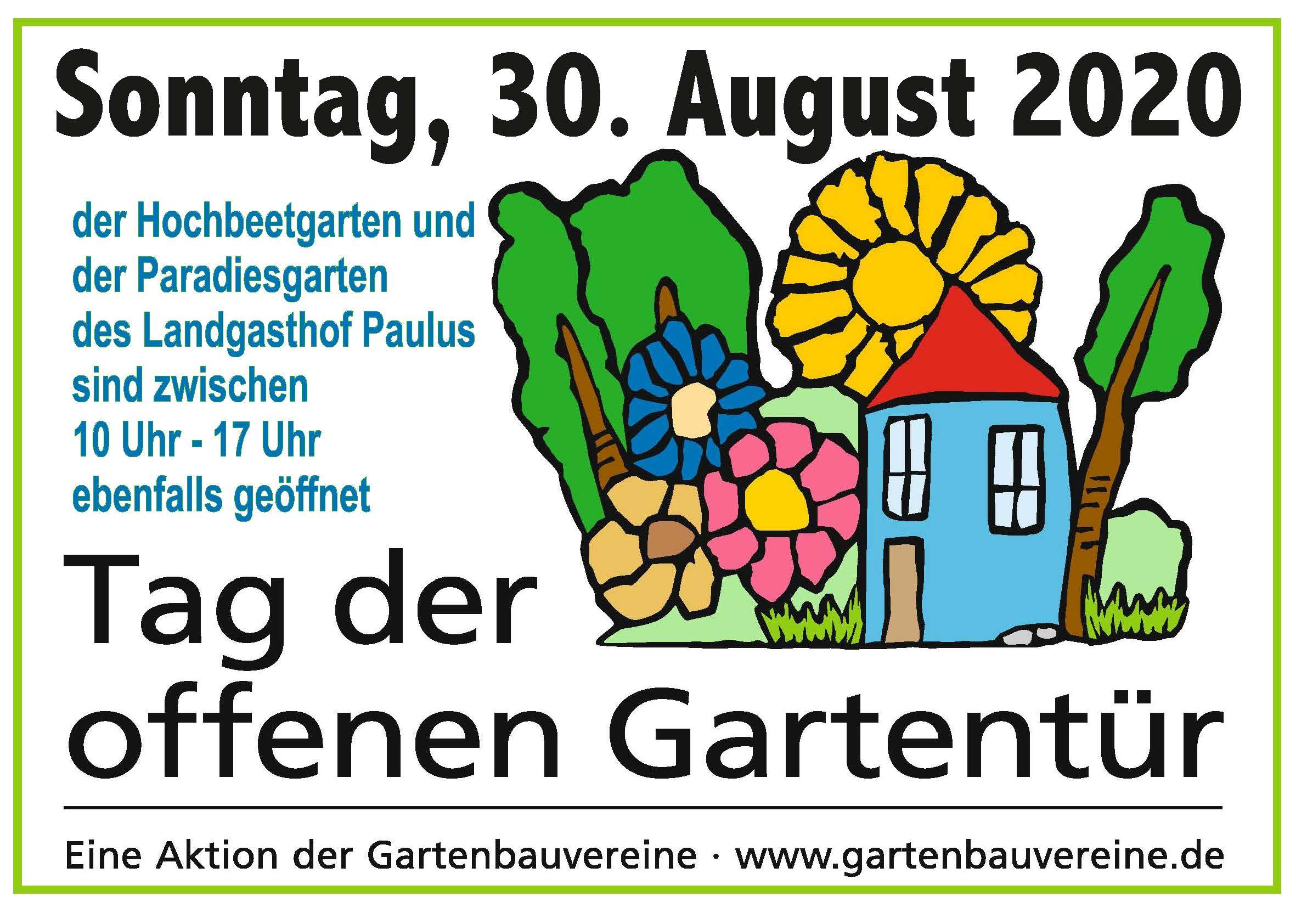 Plakat Gartentür 30. August 2020